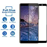 Tempered Glass for Nokia 7 Plus,Premium Oil Resistant Coated Tempered Glass Screen Protector Film Guard for Nokia 7 Plus-Black