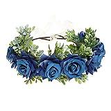 AWAYTR - Fascia per capelli da donna, a forma di corona di fiori, realizzata a mano, regolabile, per donne e ragazze, matrimoni, festival Blu Taglia unica