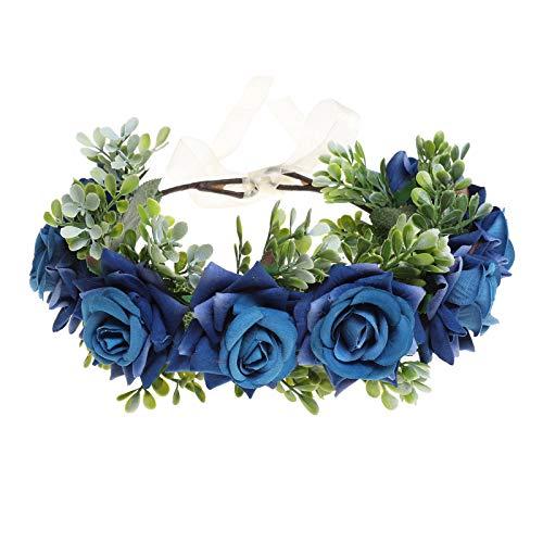 Damen Mädchen Blumen Stirnband Blumenkranz - Blühen Blumenkrone Girlande Kopfschmuck Festival Hochzeit Party Einstellbar mit Band (Blau)