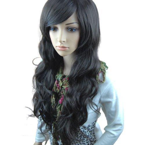 auen Perücke lange lockige Haar Wig Schwarz für Cosplay Karneval oder Party, Fasching Kostüm Glamourös Haarteil FP712 ()