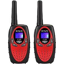 Retevis RT628 Walkie Talkies Niños 8 canales 121CTCSS/DCS, 10 Tonos de llamada VOX Roger Beep, Bloqueo de Teclado, Volumen Ajustable, Rojo y Negro, 1 par
