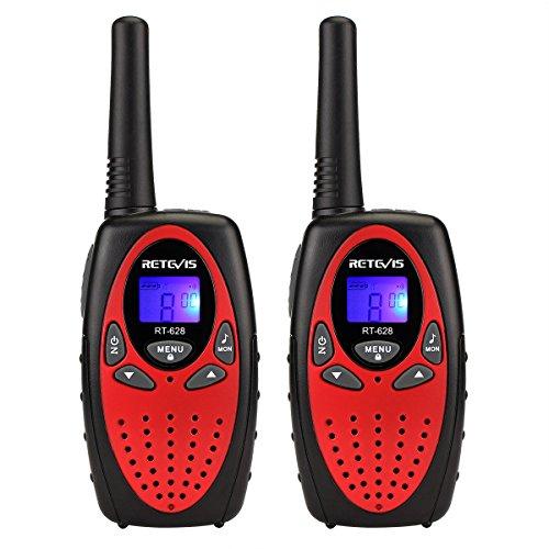 Retevis RT628 - Walkie Talkie Niños, 8 Canales, 10 Tonos de llamada, Rojo, 1 par