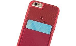 Sinjimoru Coque iPhone 6/6s avec porte-cartes, étui pour carte iPhone 6/6s ou étui portefeuille pour iPhone 6/6s avec porte-cartes. Etui Sinji Pouch pour iPhone 6/6s, Rouge