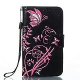 ISAKEN Galaxy S2 Hülle, PU Leder Brieftasche Wallet Case Ledertasche Handyhülle Tasche Schutzhülle Etui mit Handschlaufe für Samsung Galaxy S2 i9100 / S2 SII Plus - Pink Blume Schwarz