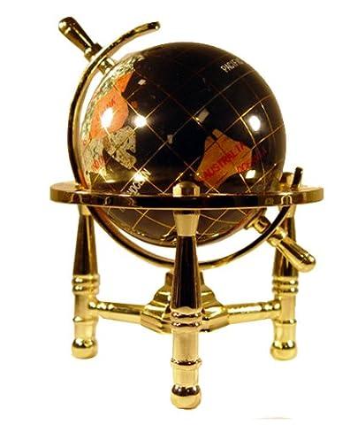 Unique Art 15,2cm par Onyx Noir Océan Pierre précieuse de dessus de table Mini Globe terrestre avec de l'or trépied