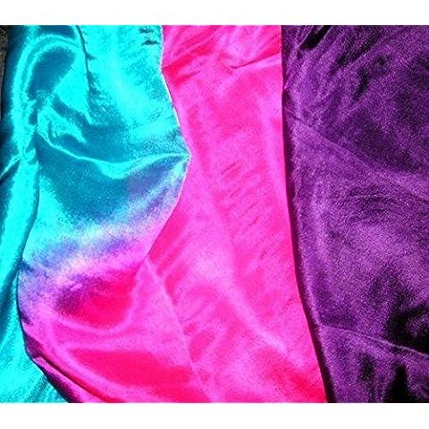 La bailarina de la danza del mundo Velo Para Bailarines de vientre de 4 colores 100 % de seda Semicírculo (Púrpura de las rosas de la turquesa
