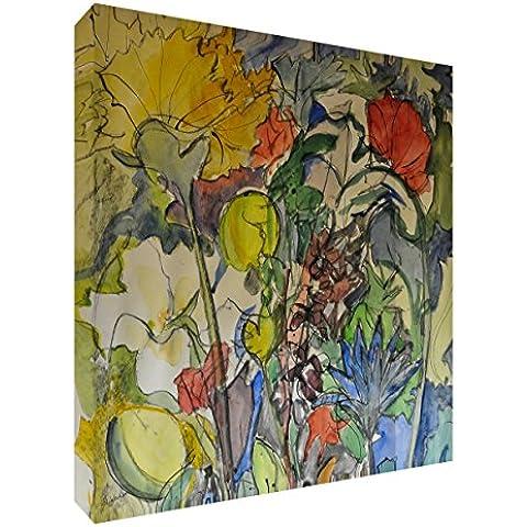 Feel Good Art VJ-MADMEDLEY2020-15IT Fiore Burst Quadro da Galleria su Tela, Dipinto Materico Originale Stilizzato dell' Artista Val Johnson, Multicolore, 51 x 51 x 4