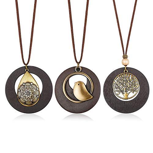 Finrezio 3 Stück Lebensbaum Kette Holz Leder Halskette für Mädchen Frauen Boho Baum des Lebens Vintage