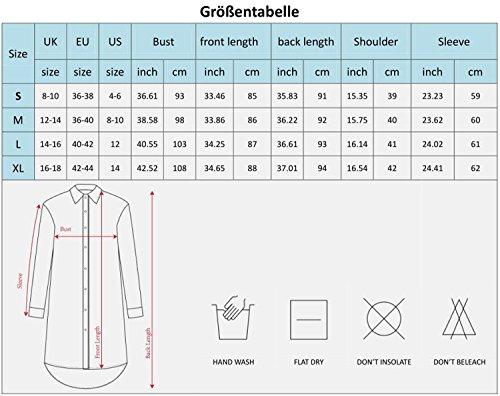 Yidarton Damen Hemdkleid V-Ausschnitt Button Chiffon Langarm Slim Casual Blusenkleid Minikleid Bluse Tops Grün