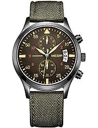 Cronógrafo militar para hombre Megir, luminoso, da la fecha automáticamente, correa de nailon. Relojes para caballero de cuarzo con calendario, reloj de pulsera verde deportivo militar.