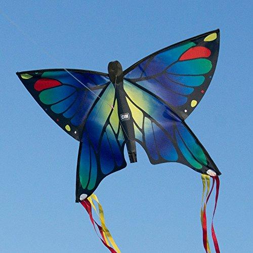 Schmetterling Drachen - Butterfly Blue - Einleiner Flugdrachen für Kinder ab 3 Jahren - 58x40cm - inkl. Drachenschnur - mit 195cm langen Bogenschwanz-Bändern