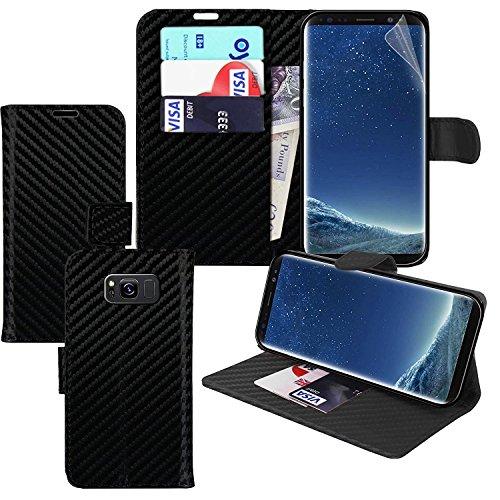 [Carbon] Samsung Galaxy Note 8 Hülle Fall / Samsung Galaxy Note8 Fall Wallet Telefon Fall Abdeckung mit Kartenhalter - Fonetic Solutions® - Kartenhalter Telefon-abdeckung