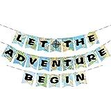 WERNNSAI Décorations de Fête Guirlandes de Carte du Monde Bon Voyage Let The Adventure Begin Bunting Banner Bannière pour Anniversaire Baby Shower Graduation Retraite Soirée à Thème de Voyage