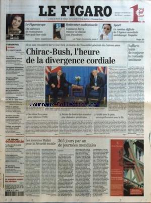 FIGARO (LE) [No 18391] du 24/09/2003 - LE FIGAROSCOPE - DIX ADRESSES DE RESTAURANTS BON-GOUT BON-COUT - REDEVANCE AUDIOVISUELLE - COMMENT BERCY RELANCE LA CHASSE AUX FRAUDEURS - SPORT - LE COMBAT DIFFICILE DE L'AGENCE MONDIALE ANTIDOPAGE. - LE COUP DE L'AGENDA PAR ALEXIS BREZET - LES IRAKIENS VEULENT PLUS DE POUVOIR - CONCESSIONS BRITANNIQUES A LA DEFENSE EUROPEENNE - DISCORDE POLITIQUE EN ALLEMAGNE - GARD ET HERAULT ACCABLES PAR LES INONDATIONS - LES GERONTOLOGUES ET LE DEFI DU PAPY-BOOM - DER