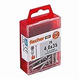 Fischer 657463 Spanplattenschraube Power-Fast 4,0 x 35 Senkkopf nicht rostender Stahl A2 Teilgewinde Kreuzschlitz PZ, 25 Stück