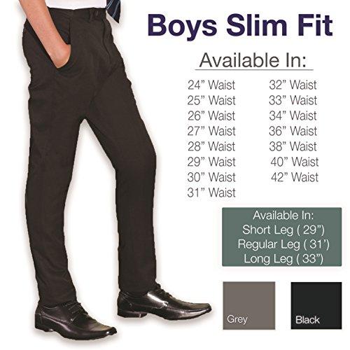 Integriti UK Ages 9-16 Boys Slim Fit School Trousers Black Grey Skinny Leg School Trousers Pants Adjustable Waistband 24