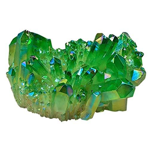 XZANTE Grün Wei?er Kristall Galvanisierte Natürliche Kristallcluster überzogene Einzelne Punkt Kristall Spalte Dekoration Spalte