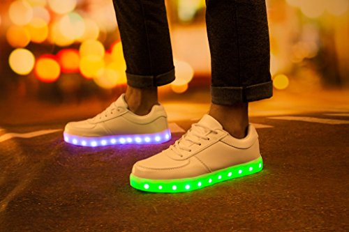 Vnfire 7 Colors USB Charging LED Light-Up Luminous Couple Casual Sport Shoes Sneakers for Unisex Men Women White Blanc