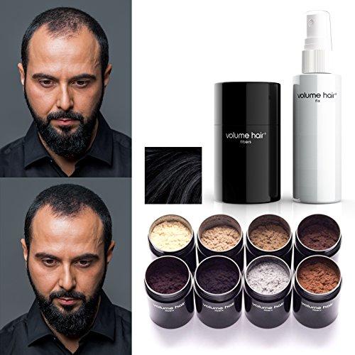 VOLUME HAIR Fibers & Fix-Spray - schwarz | Schütthaar & Volumen Spray zur Haarverdichtung. Sofort mehr Volumen, dichteres und volleres Haar.