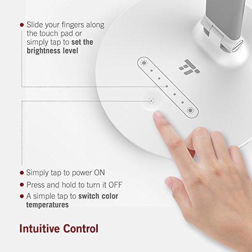 & TaoTronics Lampada da Tavolo, Lampada LED da Scrivania Dimmerabile, Controllo Touch, Luce Elegante per Ufficio, Funzione Memoria, 3 Modalità Colore e 7 Livelli di Luminosità, 7W, Bianco confronta il prezzo