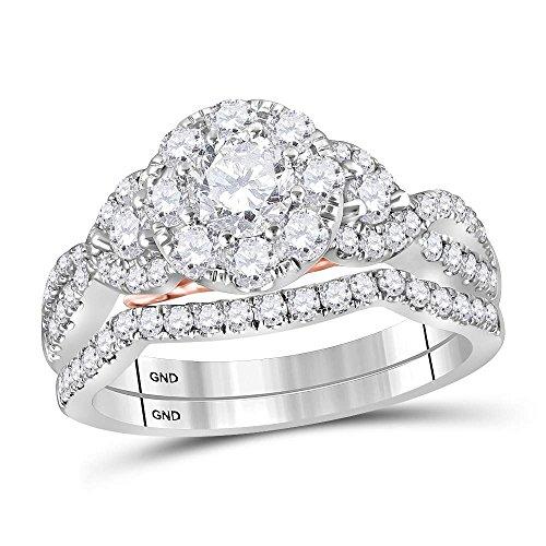 Diamond2Deal Herren Unisex Damen - 14 Kt 14 Karat (585) Weißgold Rund G-H Diamant
