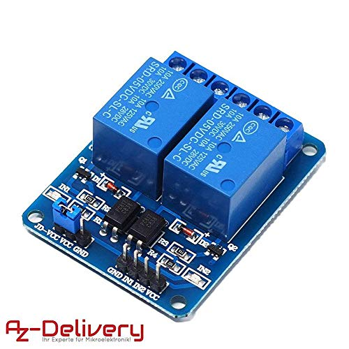 AZDelivery ⭐⭐⭐⭐⭐ 2-Relais Modul 5V mit Optokoppler Low-Level-Trigger für Arduino