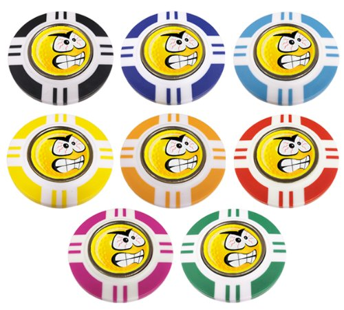 YELLOW SMILEY ANGRY VEGAS STYLE POKER CHIP GOLF BALL MARKER. YELLOW OUTER.