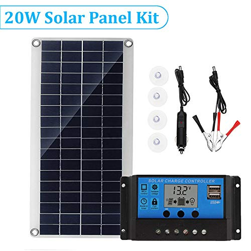 Konesky Solarpanel, Doppel-USB-Schnittstelle Solarpanel mit Controller Silicon Battery 12V 20W Solarmodul-Kit für Outdoor-Camping Wandern