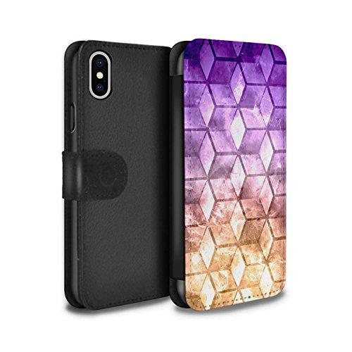 Stuff4 Coque/Etui/Housse Cuir PU Case/Cover pour Apple iPhone X/10 / Rouge / Vert Design / Cubes colorés Collection Violet / Orange