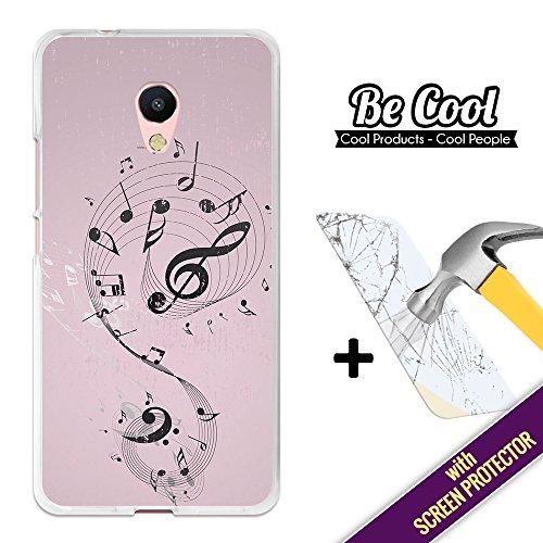 BeCool® - Custodia Cover [ Flessibile in Gel ] per Meizu M5s [ +1 Pellicola Protettiva Vetro ] Ultra Sottile Silicone,protegge e si adatta alla perfezione al tuo Smartphone. Note musicali.