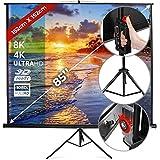 Écran de Projection 152x152 cm - Taille au Choix, avec ou sans Trépied, 85 Pouces, Enroulable, Formats 1:1, 4:3, 16:9, HD 4K 3D...