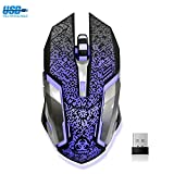 VEGCOO Drahtlose Gaming Maus, Aufladbare Drahtlose Geräuschlos Maus vmit Bunte LED-Leuchten und 2400/1600/800 DPI, 1000mAh NI-MH-Akkus Für Laptop und Computer (C9SL)
