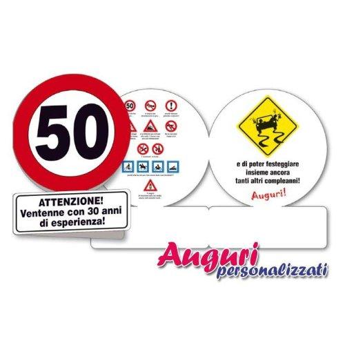 Estremamente Biglietto compleanno auguri segnale 50 anni HN01