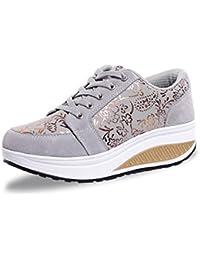Suetar Zapatillas de Deporte de Tacón Alto Para Mujer Zapatos Deportivos con Pavón Patrón Floral de Primavera y Verano Zapatos Ocasionales de La Plataforma de Las Señoras
