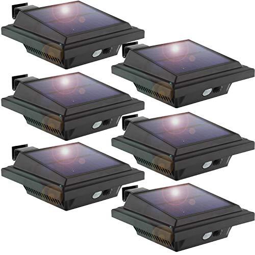KEENZO LED Dachrinnenlampe, Solar Dachrinnenleuchte, 25 LEDs, 2 W, PIR-Sensor, Schwarz,Kaltweißes Licht, 6er-Set