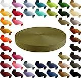 maDDma  12m Polypropylen PP Gurtband 25mm, Gurt 1,3mm stark, Farbwahl, Gurtband:888 olivgrün