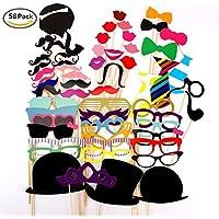 Hosaire Photo Booth Props on Sticks Colorful Bigote Caras divertidas para la fiesta de cumpleaños Decoración de Navidad para la boda 58 piezas