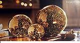 Leuchtkugeln Kugelleuchten METALLIC in GOLD Leuchtkutgel 3er Set aus Glas LED Lichterkette Leuchtdeko Lichtkugel Deko Kugel Weihanchten Weihnachtsbeleuchtung Bodenleuchte Bodenlampe Deko Beleuchtung Innen Farbe Gold