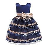 Tyoby Mädchen Festkleid Ärmellose Schleife Pailletten Spleißen Mesh Layered Kuchen Rock Prinzessin Tutu Kleid(Marine,140)