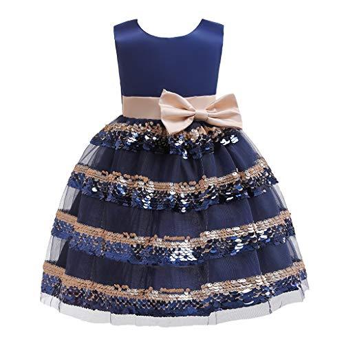 Tyoby Mädchen Festkleid Ärmellose Schleife Pailletten Spleißen Mesh Layered Kuchen Rock Prinzessin Tutu Kleid(Marine,120)