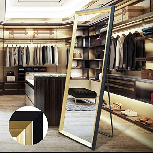 Floor mirror LEI ZE JUN UK - Schlafzimmerspiegel in voller Länge, einfacher Kleidungs-Store Ankleiderspiegel HD Anti-Burst, schlanker Effekt, Black Border Gold Frame, 50 * 150cm