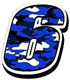 Skino Startnummer Nummer Zahl Auto Moto Vinyl Aufkleber Sticker Motorrad Motocross Motorsport Racing Tuning Camouflage Blau (6), N17