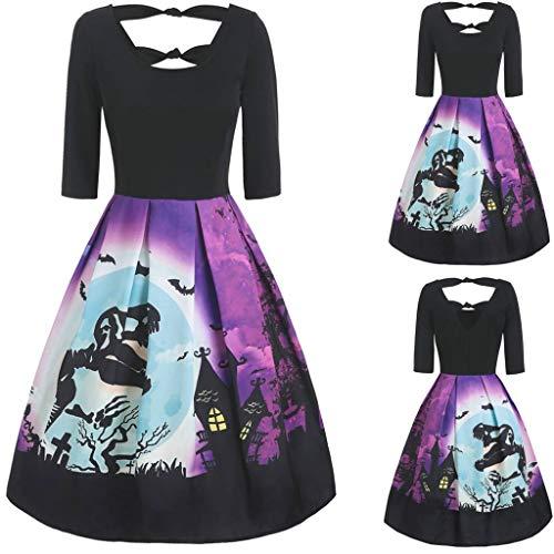 Kostüm 90er Verkauf Jahre Zum - Iwähle ♥ Damen Vintage Langarm V-Ausschnitt Halloween Hausfrau Print geknotet V zurück Kleid (L2)