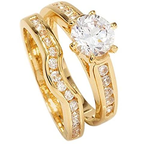 Free Engraving! Ah! Jewellery Ladies 18kt Genuine Gold Filled Simulated Diamonds Ring & Channel Eternity Band. Engagement Wedding Set. UK Guarantee: 3µ / 10 years. Excellent