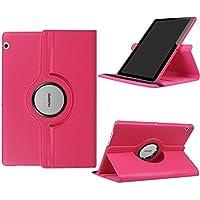 Fundas Huawei MediaPad T3 10 - DETUOSI Funda de Cuero Giratoria 360 Grados Smart Case Cover Protectora Carcasa con Stand Función para Tablet Huawei T3 10 Pulgadas -Rosa roja