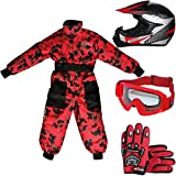 Leopard LEO-X19 Casco da Motocross per Bambini off-Road + Occhiali + Guanti + Tuta da Motocross per...