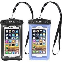 Funda Impermeable iPhone 7, SKYEE [2 Unidades] IPX8 Certificado Funda Impermeable Móvil Transparente Bolsa Impermeable para Movil Universal para iPhone 7/7 Plus/6s/6 plus/5/5s/SE Lector de Huella Dactilar Funciona (Negro+Azul)
