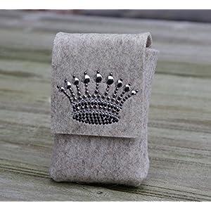 zigbaxx Zigarettenetui CROWN 1 / Täschchen aus Wollfilz mit Krone aus Strass & Studs