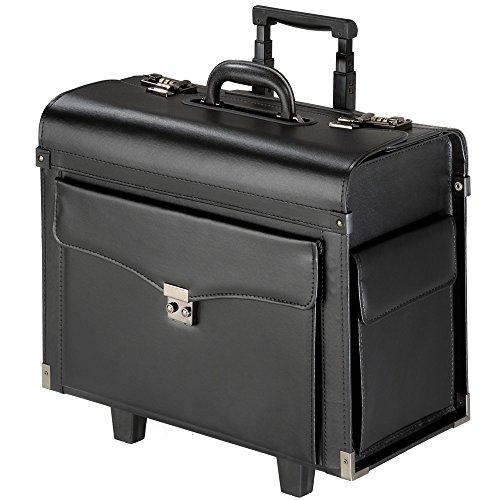 TecTake Pilot case trolley valise mallette de pilote sac à roulettes avec poignée télescopique verrouillable noir