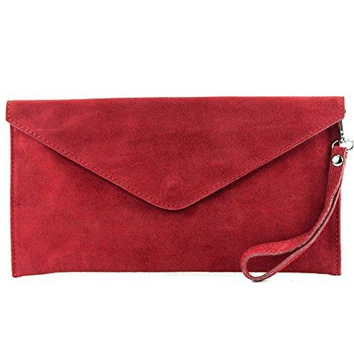 modamoda de - T106 - ital Clutch/Abendtasche aus Wildleder, Farbe:Dunkelrot Rot Tasche